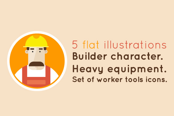 Builder character. Set icons. - Illustrations