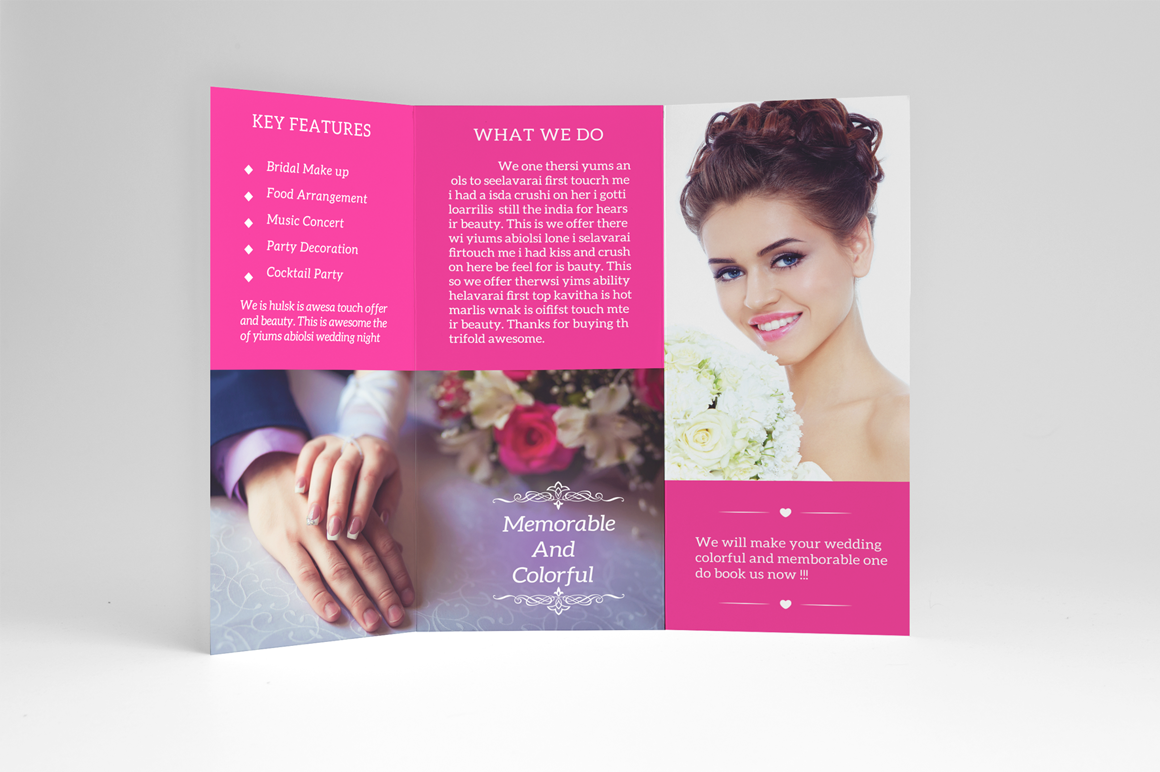 Wedding planner trifold brochure templates on creative for Wedding planner brochure template