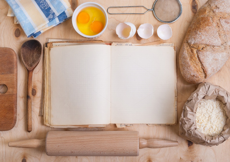 baking background blank cook book food drink photos on creative market. Black Bedroom Furniture Sets. Home Design Ideas