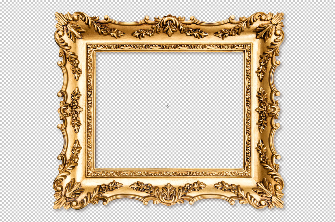 Baroque golden picture frame png objects on creative market - Large antique picture frames ...