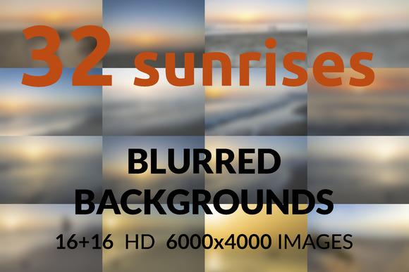 32 sunrises. Blurred backgrounds - Textures