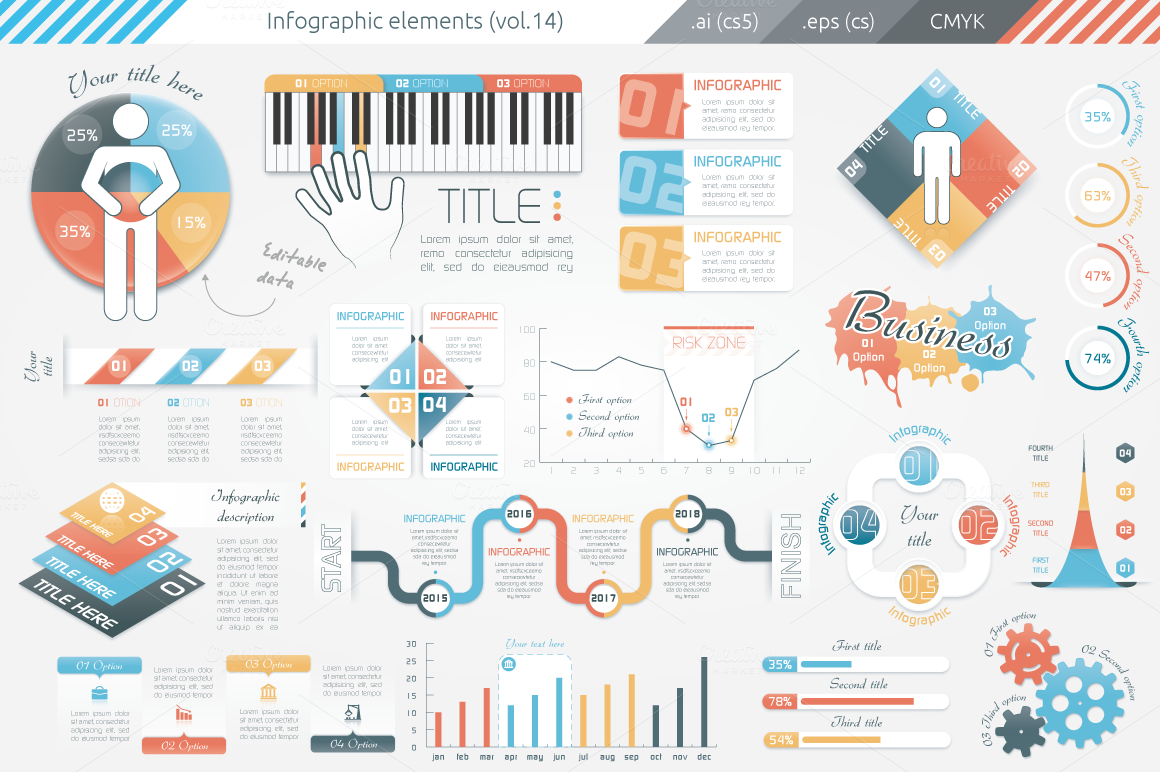 Infographic Elements (v14) ~ Presentation Templates on ...