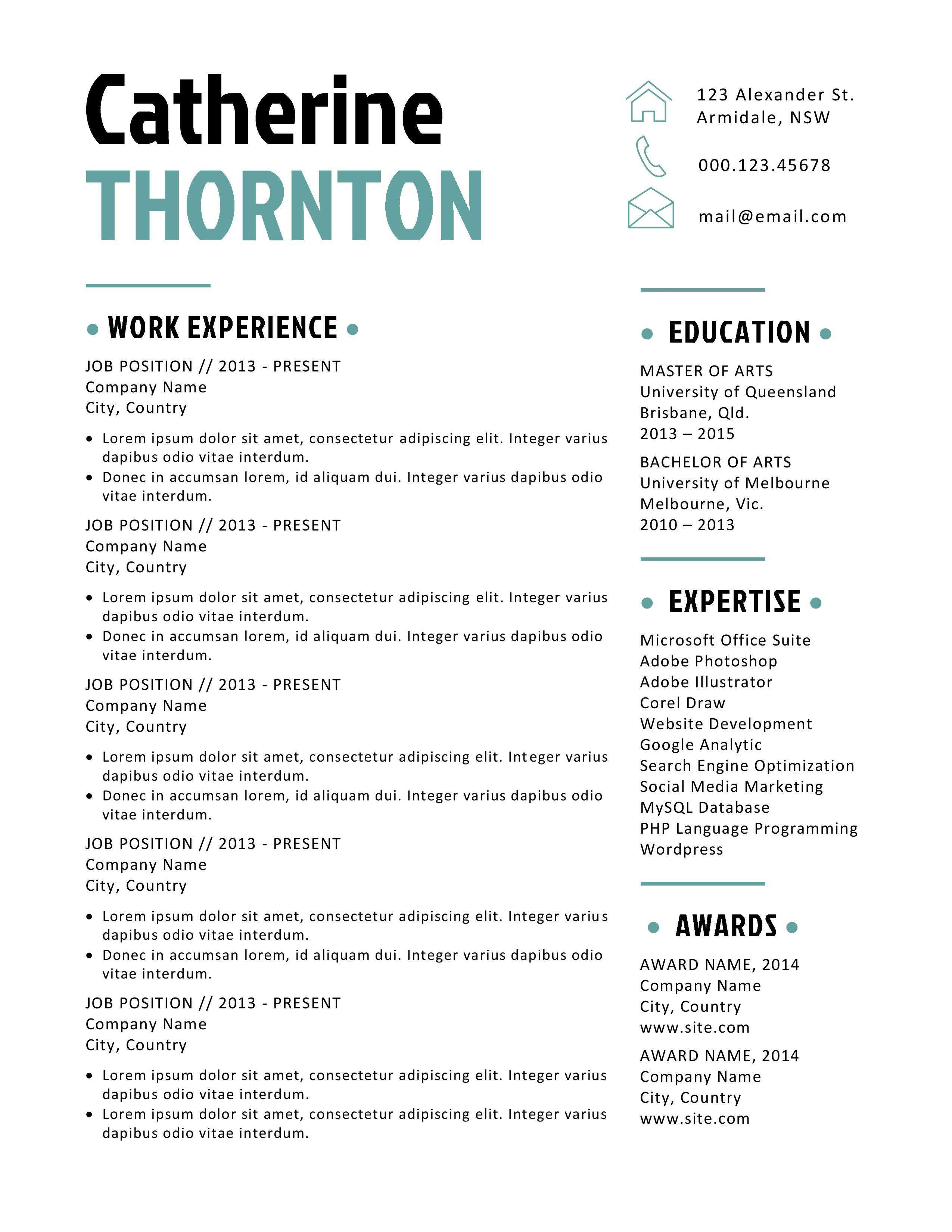 bold 2 in 1 word resume resume templates on creative market