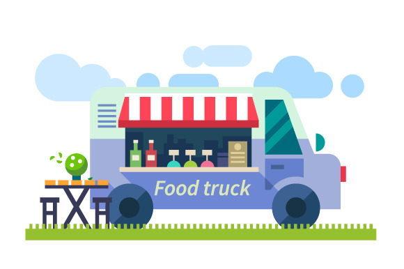 Food delivery. Mobile cafe in nature - Illustrations