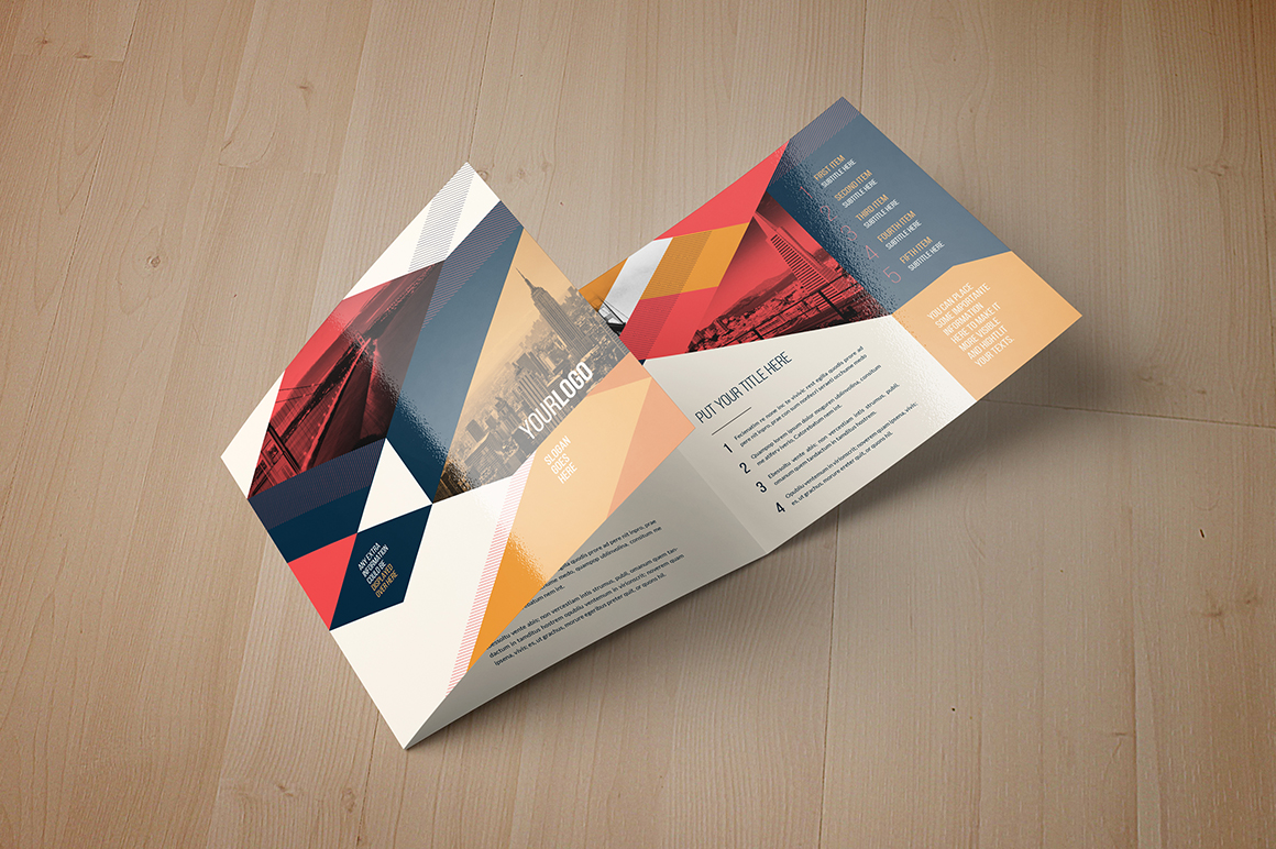 Vintage square trifold brochure brochure templates on for Simple tri fold brochure template