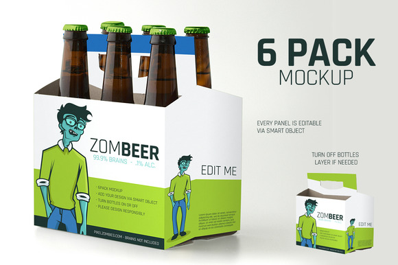 6 pack carton mock up product mockups on creative market for Six pack carrier template
