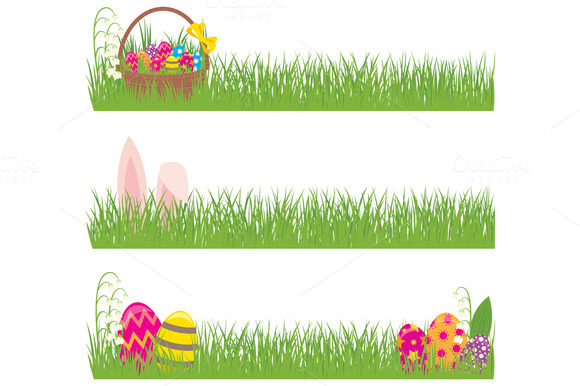 Set Of Easter Banners Grass And Eggs