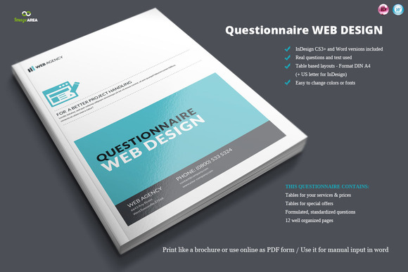 Questionnaire Web Design Brochure Templates On Creative Market