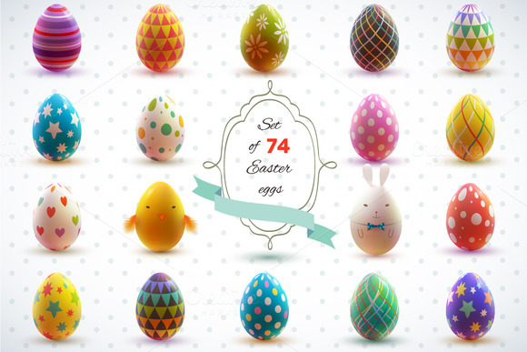 25% off. Easter eggs. Holiday set. - Illustrations