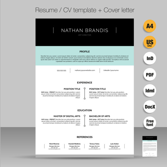 resume cv cover letter pack resume templates on creative market
