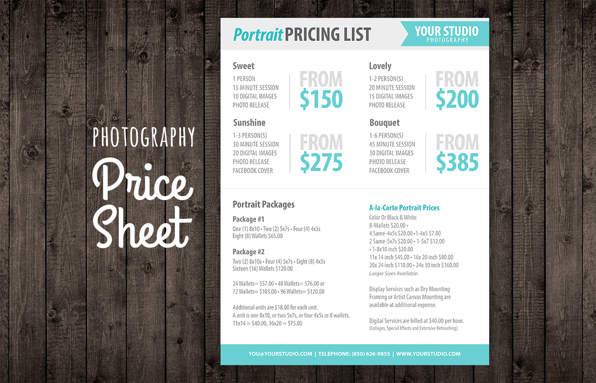 photography price list sell sheet templates on creative market. Black Bedroom Furniture Sets. Home Design Ideas