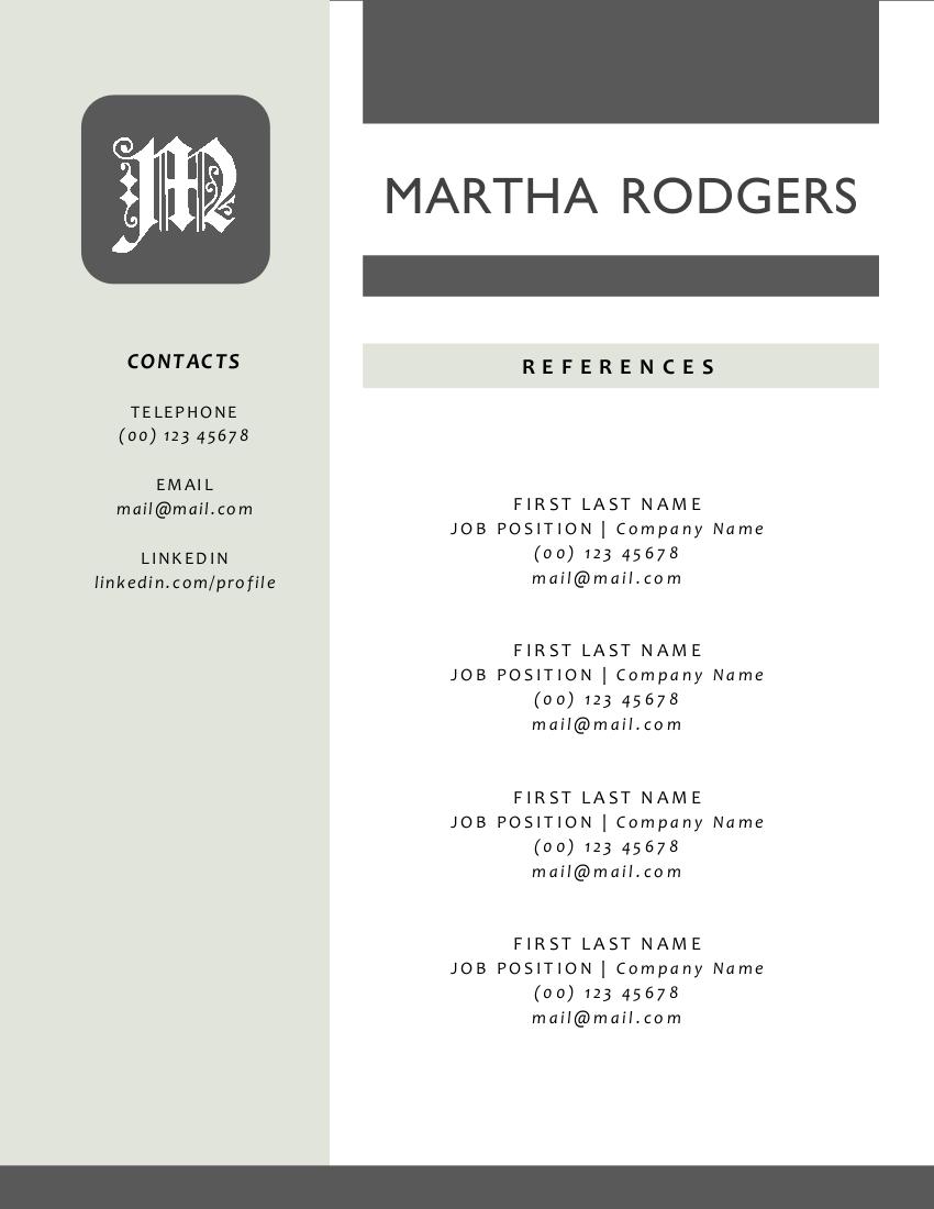 3 in 1 modern monogram 2 p resume resume templates on creative market. Black Bedroom Furniture Sets. Home Design Ideas
