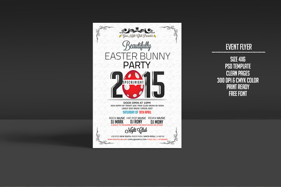 Easter Bunny Party Flyer Template