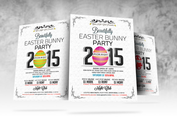 Easter Bunny Party Flyer Template - Flyers - 2