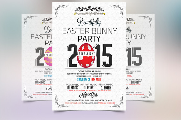 Easter Bunny Party Flyer Template - Flyers - 4