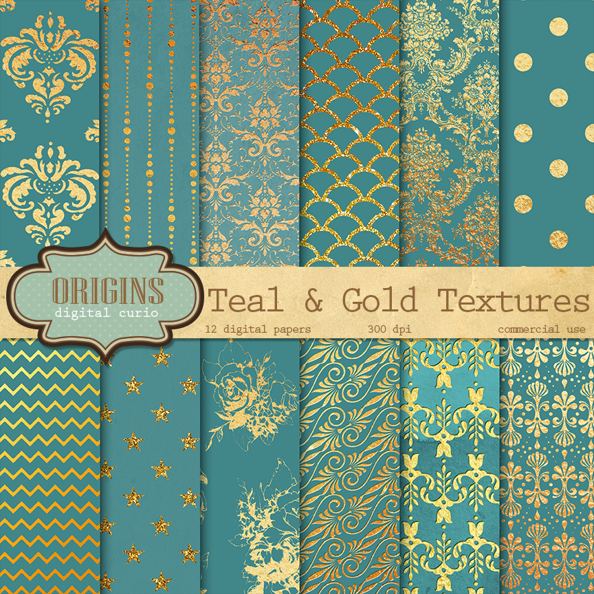 Teal And Gold Digital Paper Textures On Creative Market