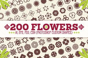 200 Flowers - Vector Shapes Set