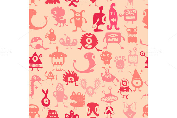 Vector. Monsters pattern - Illustrations