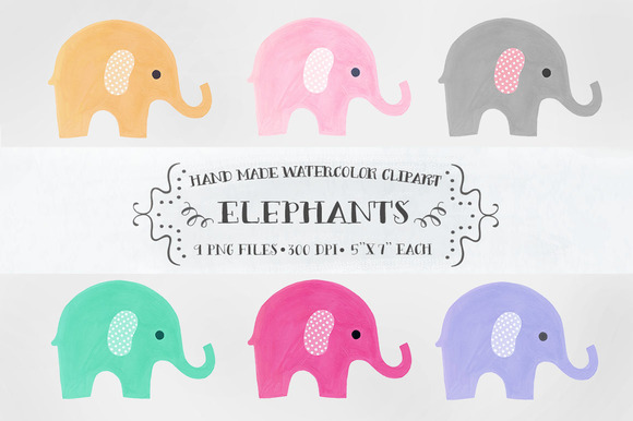 Elephants - watercolor clipart ~ Illustrations on Creative Market