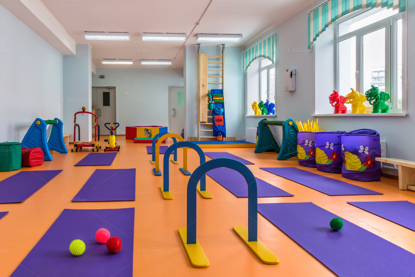 Children s room with gym equipment education photos on