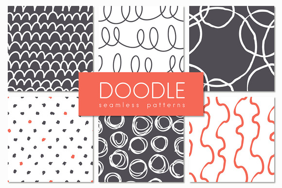 Doodle. Seamless Patterns Set - Patterns
