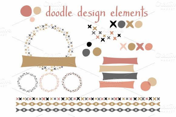 Doodle Design Elements Blush Gold