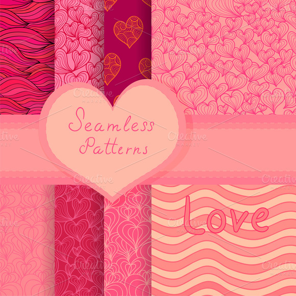 Valentine Vector Patterns Set