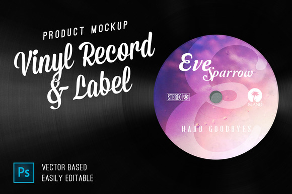Vinyl Record Label Mockup