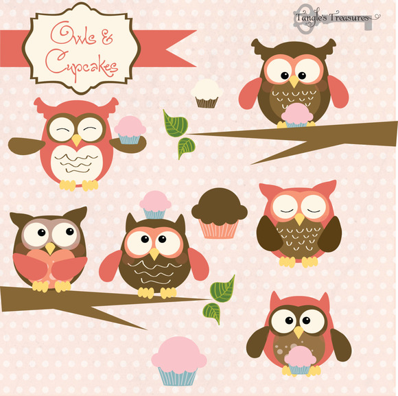Owls And Cupcakes Clipart