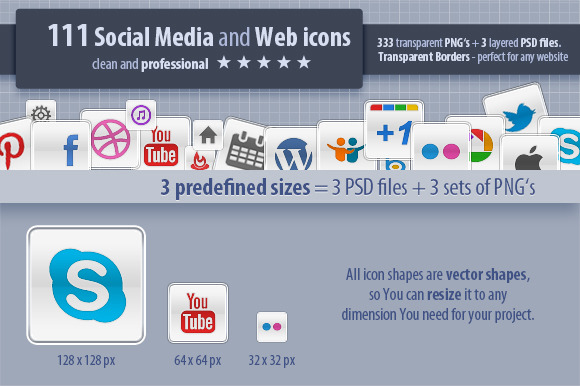 111 Social Media And Web Icons