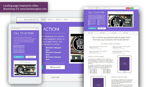 Landing page responsive video bs3 ~ Website Templates  Free Download