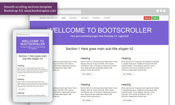 BootScroller Responsive Bootstrap 3