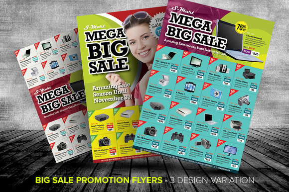 big sale promotion flyer templates templates on creative market. Black Bedroom Furniture Sets. Home Design Ideas
