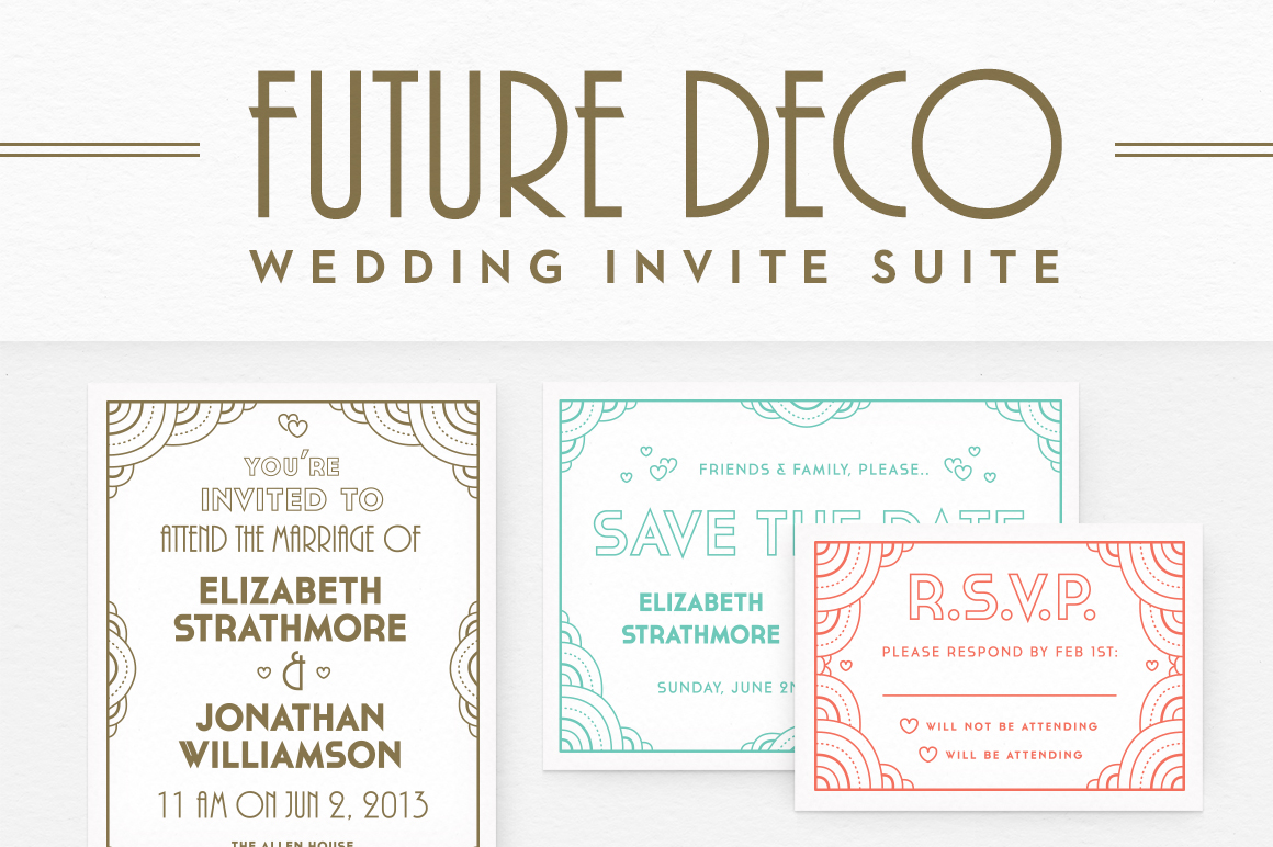 Wedding Invitation Suite Templates: FutureDeco Wedding Invite Suite