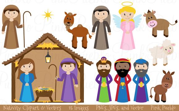 Christmas Nativity Clipart Vectors