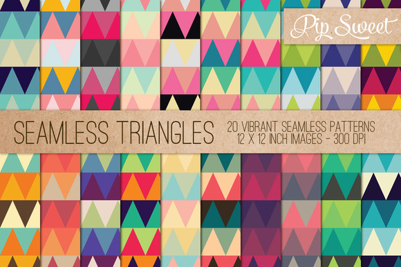 Seamless Triangles 20 Pattern Set