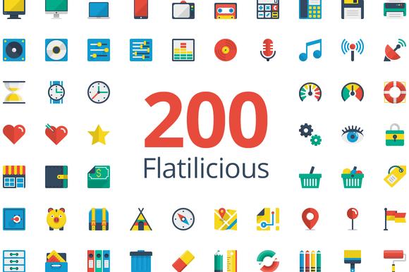 Flatilicious 200 icons