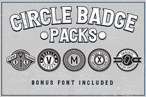 5 Circle Badges + Bonus Font
