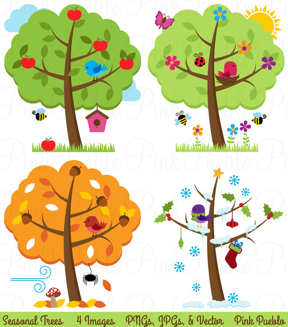 Four Seasons Trees Clipart & Vectors ~ Illustrations on ...