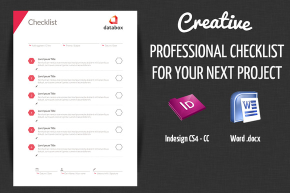 Checklist Template Psd Professional Project Checklist - Stationery