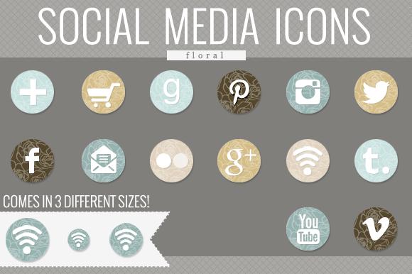 Floral Social Media Icons
