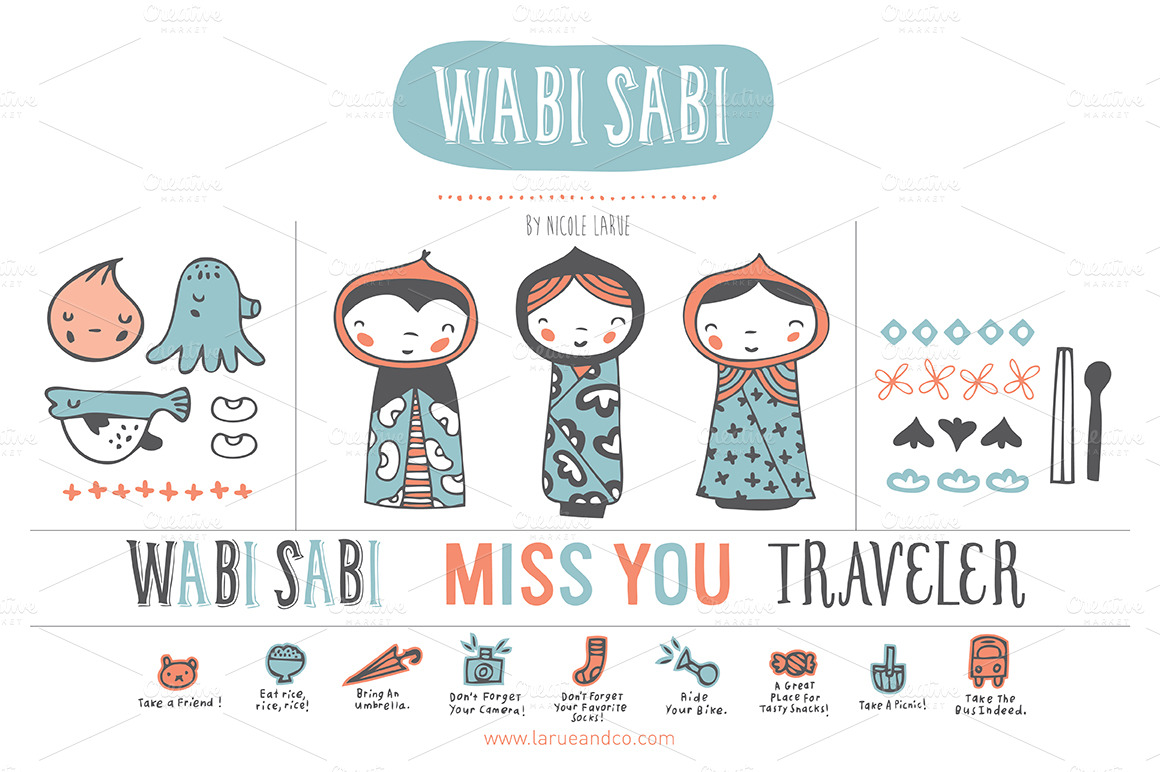 Wabi Sabi (Clipart) ~ Illustrations on Creative Market: https://creativemarket.com/nicolelarue/13615-Wabi-Sabi-(Clipart)
