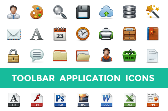 Toolbar Application Icon Set - Icons - 1