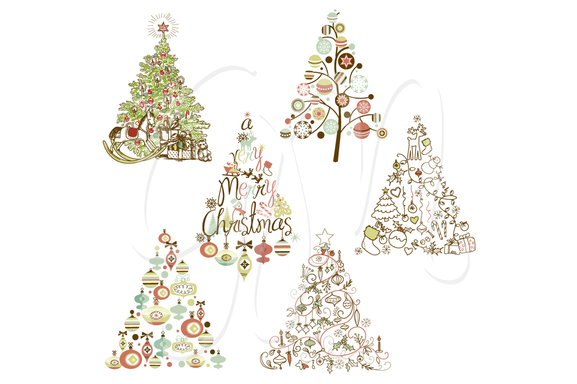 Christmas Tree Retro Clip Art