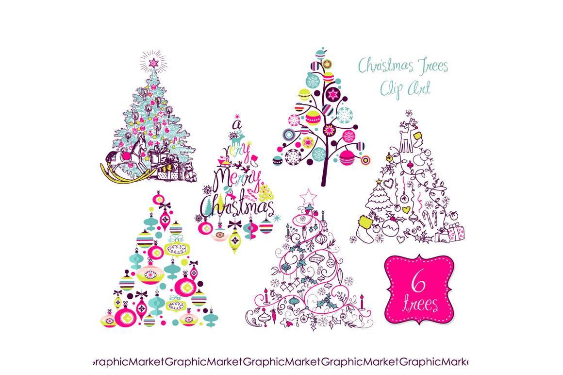 Christmas Tree Retro Clip Art ~ Illustrations on Creative ...
