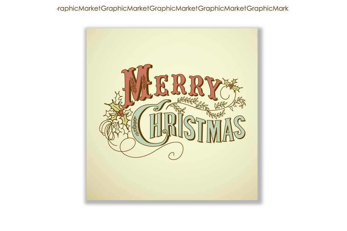Christmas cards vintage calligraphy illustrations on