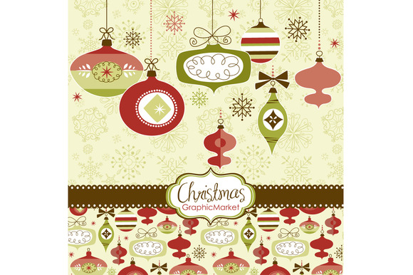 Christmas Clip Art  retro ornaments - Illustrations - 1Vintage Christmas Ornaments Clipart