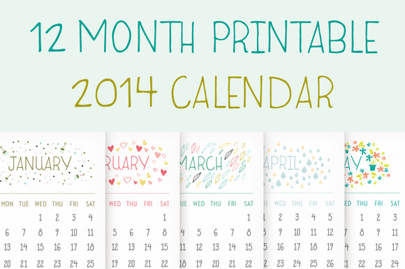 Printable 2014 calendar illustrations on creative market for 4 month calendar template 2014