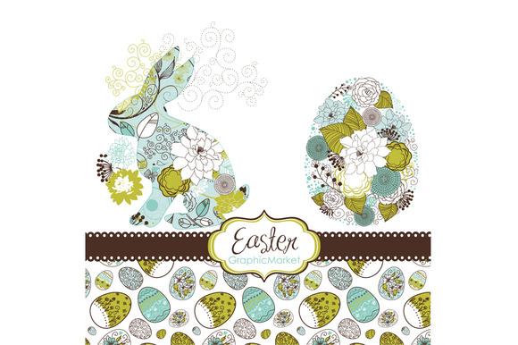Easter Bunny Digital Clip Art Eggs