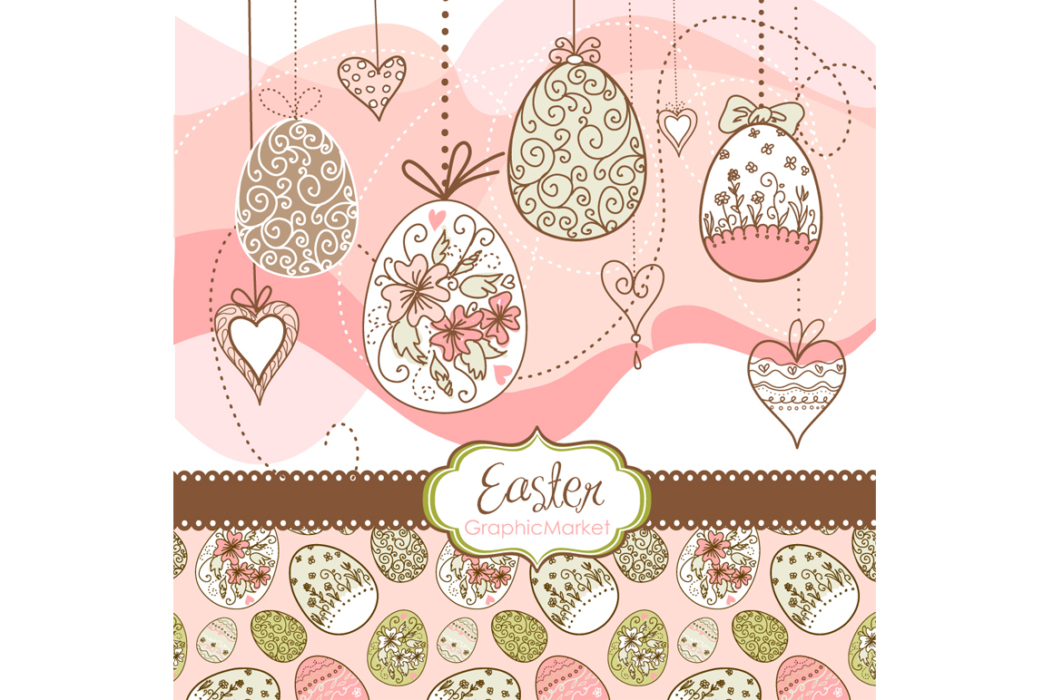 Easter Clip Art and card templates Illustrations on